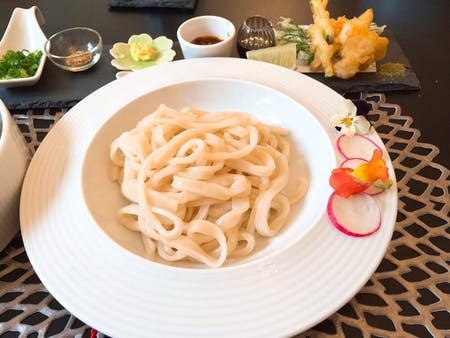 Hand-made udon noodle and Tempura