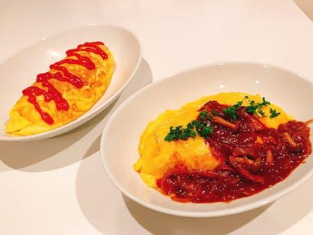 Fluffy Omurice (Omelette Rice) and Strawberry Daifuku