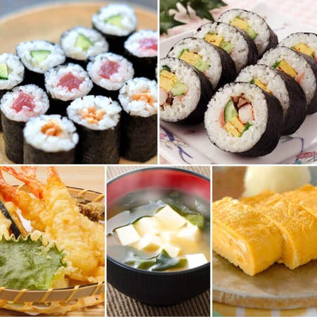 Maki-sushi(sushi roll) and Japanese omellet