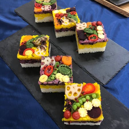 Make Colorful veggi Oshi sushi