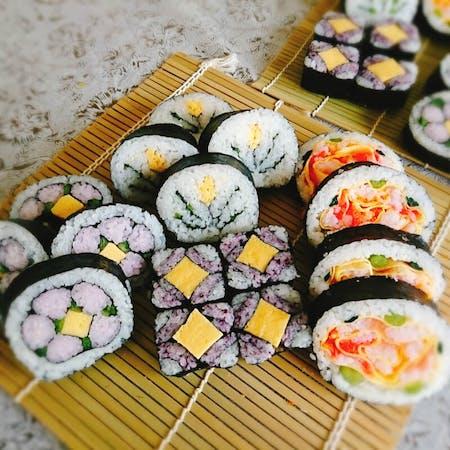 Decorative Sushi roll and NiraManju(similar to Gyoza)