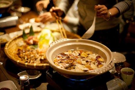 Japanese hot pod with wild mushrooms