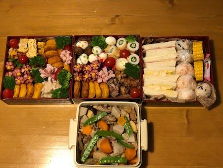 Miso soup, Japanese bento,Japanese omlet,gyoza,motsu nabe which is a famus local food at Fukuoka.