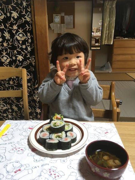 Makizushi(rolled sushi), Miso soup and Warabimochi