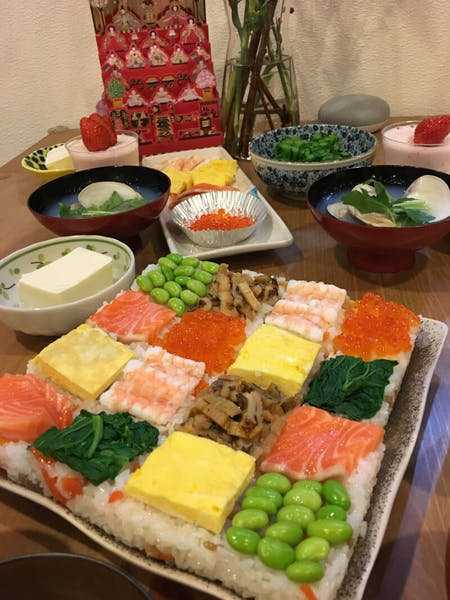 Mosaic style sushi, Miso soup, Green tea