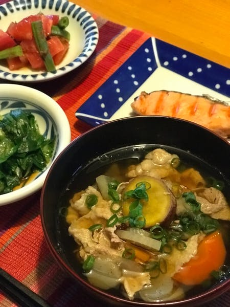 Homemade set meal of Tonjiru, which is Miso soup with pork.
