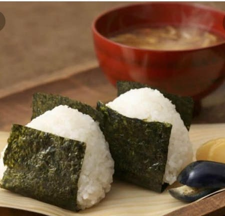 Rice ball, Miso soup