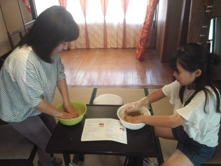 Cooking of mindfulness. Making miso experience with okara(soybean pulp)in histrical Samurai house.