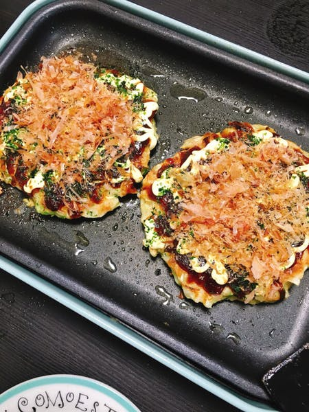 Homemade Okonomiyaki cooking