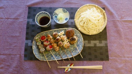 Handmade Udon Kushiyaki ( Assorted Yakitori and Vegitables )