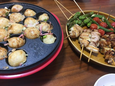 Cook your own TAKOYAKI, and YAKITORI and Miso Soup in Kabazawa!