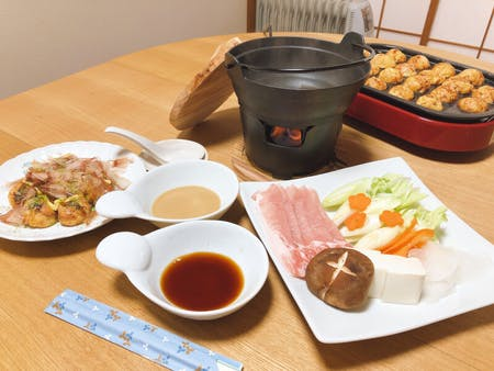 Kyoto takoyaki and yuba or pork shabu-shabu