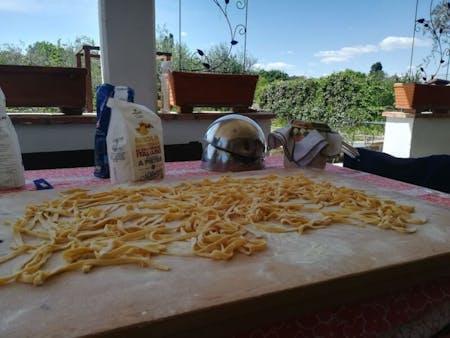 Fettucine, Ravioli & Tomato Sauce. Online Live Cooking Class